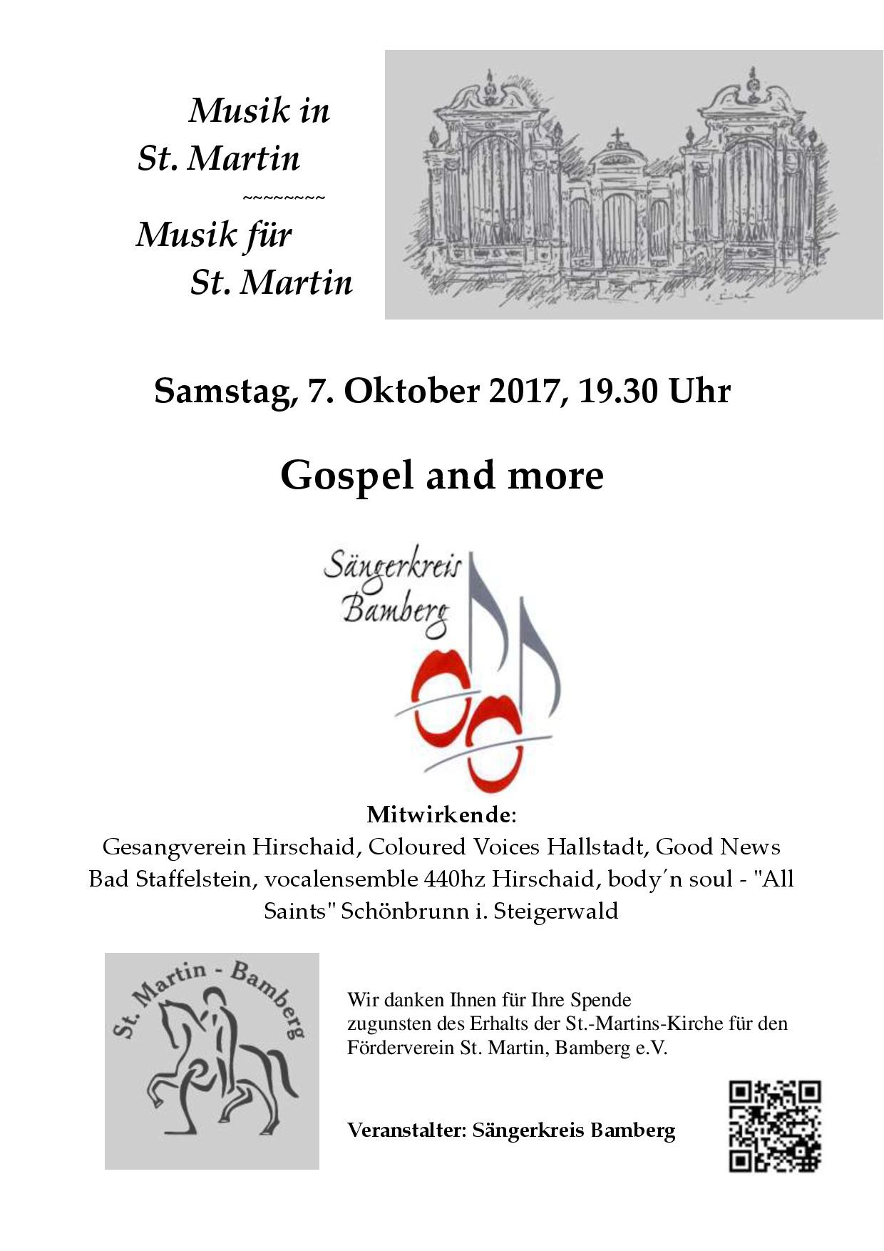 veranstaltung gospel and more  - bamberg - 07.10.2017, Einladung